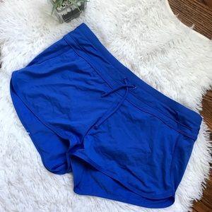 Athleta blue drawstring waist running shorts